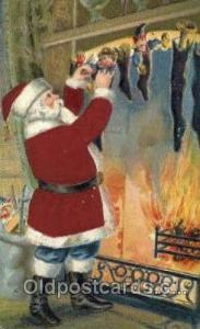 Silk Christmas Santa Claus Postcard Post Card