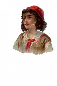 Victorian Paper Scrap, Young Boy, 2 X 2 1/2 inches