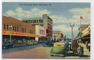 Cleveland Street Scene Cars Woolworth Store Clearwater Florida 1954 postcard