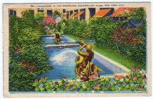 Fountains In The Promenade, Rockefeller Plaza, New York City