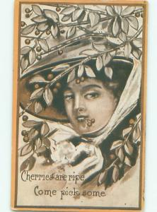 Pre-Linen Risque SEXY WOMAN HOLDING CHERRIES IN HER MOUTH AB6025