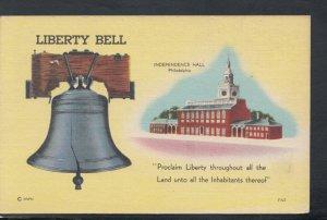 America Postcard - Liberty Bell, Independence Hall, Philadelphia    T7081