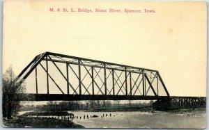 Spencer, Iowa Postcard M.&St.L. Bridge, Sioux River Railroad BLOOM BROS. 1910s