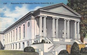 Greenville South Carolina~Buncombe Street Methodist Church~1940 Postcard
