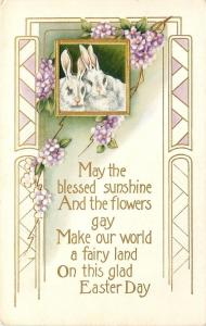 Easter~White Rabbits~Ears Entwined~Wish for Fairy Land~Lavender Flowers~Gold Emb