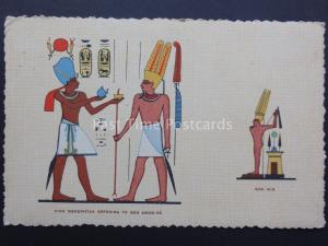 Egypt: KIng Menephtah Offerings to God AMON-RA c1943 Old Postcard