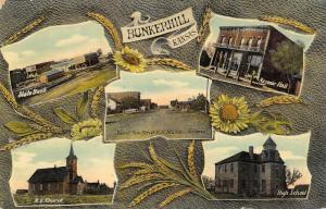 Bunkerhill KS~Main St~State Bank~Masonic Hall~Sunflower & Wheat Art Nouveau~1910