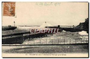 Old Postcard Fecamp L & # 39Entree Du Port For Big Time