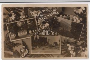 London; With Best Wishes, A Happy Christmas From Teddington RP PPC, 1911 PMK