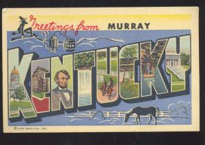 GREETINGS FROM MURRAY KENTUCKY LARGE LETTER LINEN POSTCARD KY.