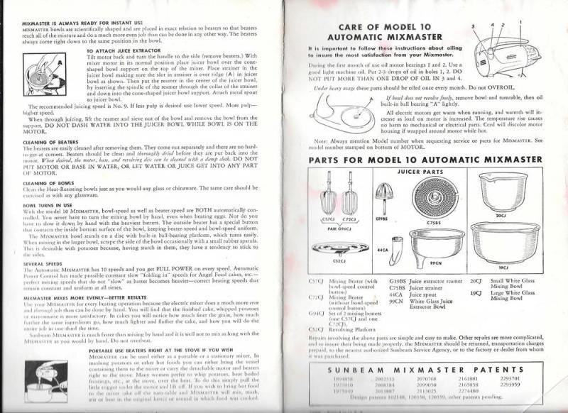 Sunbeam Mixmaster Illustrated Advertising Recipe Booklet