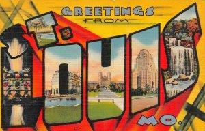 LP14 Large Letters  St. Louis Missouri Greetings Postcard