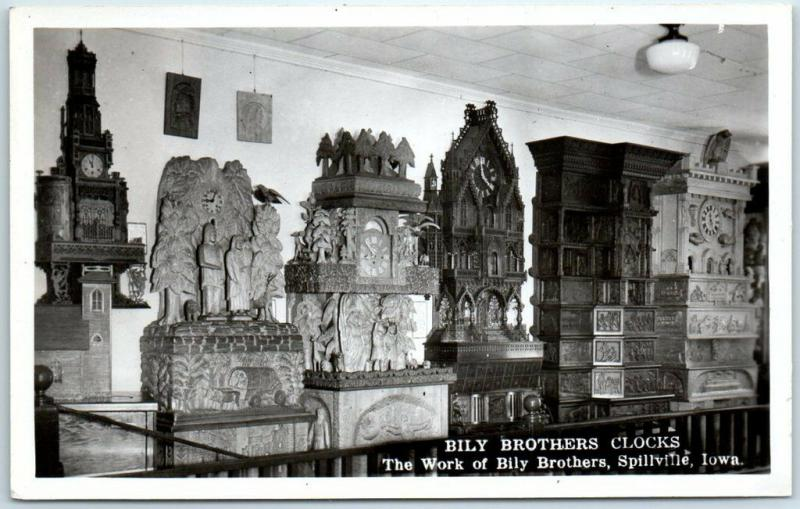 Spillville, Iowa RPPC Real Photo Postcard BILY BROTHERS CLOCKS c1940s Unused