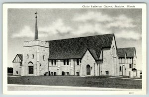 Stockton Illinois~Christ Lutheran Church~1952 Curteich B&W Postcard