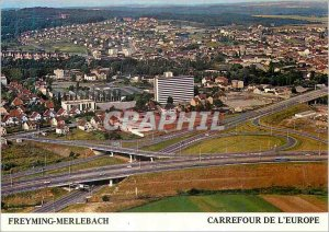 Postcard Modern Freyming Merlebach crossroads of Europe View Aerienne