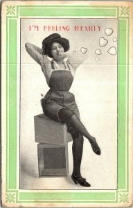 Postcard Valentine Romance Humor I'm Feeling Hearty Divided Back Unposted  1862