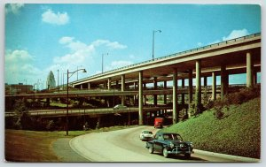 Los Angeles CA~1950s Studebaker Leads By A Nose~ Freeway Stack~Civic Center
