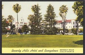Beverly Hills CA Hotel and Bungalows Linen Postcard 1942