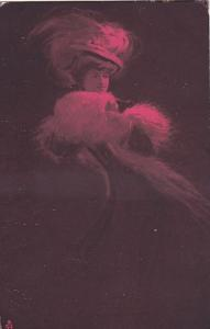TUCK #531; La Parisienne, Profile of woman, feather hat, Red Tint, PU-1911