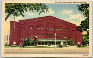Birmingham, Alabama Postcard Municipal Auditorium Street View Curteich Linen