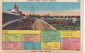 Kentucky Louisville Churchill Downs Busy Persons Correspondence Card 1942