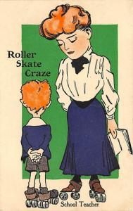 Rollar Skate Craze Roller Skating Postcard PU 1910