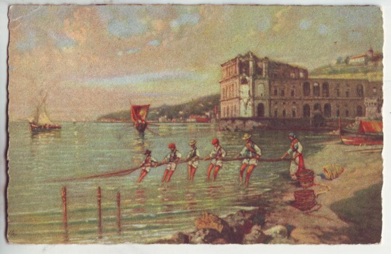 P907 1938 art card people fishing napoli-posillipo con palazzo donn,anna italy