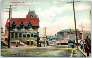 Somersworth, New Hampshire Postcard View of Market Street Downtown Scene 1910s
