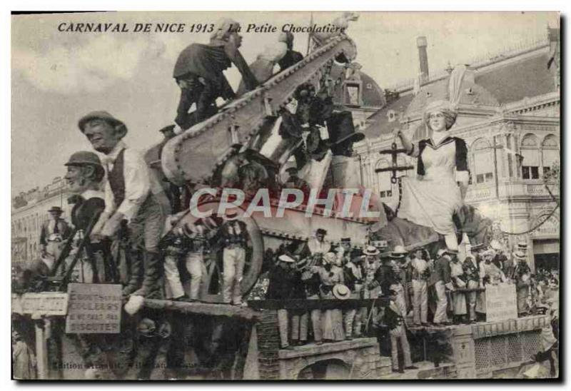 VINTAGE POSTCARD Carnival of Nice 1913 small the chocolatier