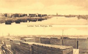 Peshtigo Wisconsin~Lumber Yard~Split View~Stacks on River~1907 Sepia Postcard