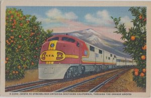 SANTA FE STREAMLINE in ORANGE GROVES / CALIFORNIA / 1940s FRED HARVEY / RAILROAD