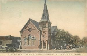 1909 Phoenix Territorial Postmark. Central Methodist Church Handcolored Postcard