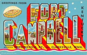 Fort Campbell Kentucky~Large Letter CHROME Postcard~Airborne Parachute~1961 PC