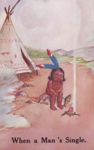When A Mans Single Red Indian Tent Comic Old Postcard
