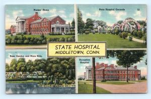 Postcard CT Middletown State Hospital Multiview Vintage Linen J16