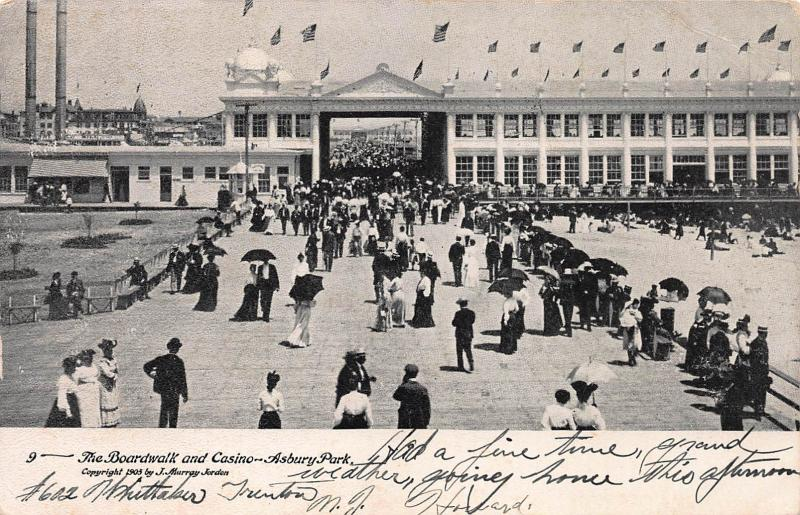 The Boardwalk and Casino, Asbury Park, New Jersey, Early Postcard, used in 1905