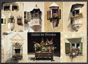 Switzerland, The Grisons, Typical Bay windows, multiview, unused