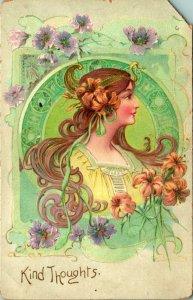 Alphonse Mucha Art Nouveau Tipo Pensieri Molla Donna 1907 Cartolina