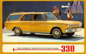1964 Rambler American Station Wagon 330 Classic Car Ad Vintage Postcard
