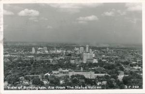 RPPC View of Birmingham AL, Alabama from the Statue Vulcan - pm 1954
