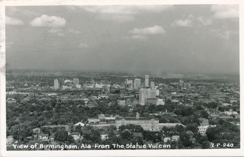 RPPC View of Birmingham AL, Alabama from the Statue Vulcan - pm 1954
