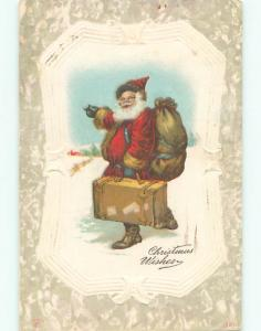 Divided-Back CHRISTMAS - SANTA HITCH HIKING WITH HIS SUITCASE o2935