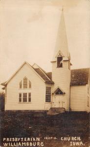 Williamsburg Iowa~Presbyterian Church~Do You Keep a Seat on the Car?~c1912 RPPC