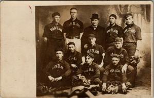 Hartland Minnesota~Men's Baseball Team~Manager in Top Hat~Uniforms~c1909 RPPC