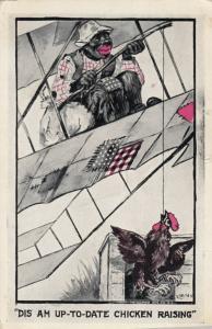 Artist LEVI; Dis am up-to-date chicken raising , Airplane , 1915