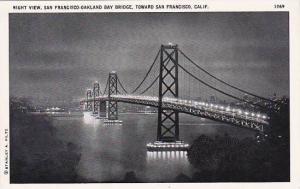 California San Francisco Night View San Francisco Oakland Bay Bridge Toward S...