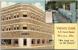 1940s NEVADA, Missouri Postcard VIETH'S CAFÉ Street View Curteich Linen Unused