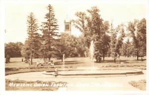 Ames IA~Iowa State College~Man Spots Fashion Lady on Edge of Fountain~1939 RPPC