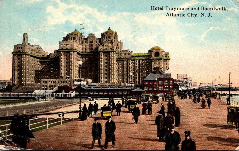 New Jersey Atlantic City Hotel Traymore and Boardwalk 1916 Curteich