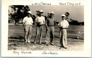 Vintage RPPC Real Photo Postcard GOLFING FOURSOME 4 Men Golfers Course 1946